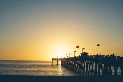 siluetti, sunrise, sea, veden, dawn, beach, ocean, aurinko, hämärä, pier