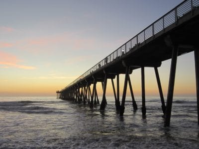 water, sunrise, sunlight, pier, wave, pacific, bridge, sea, ocean, beach, sky, dawn