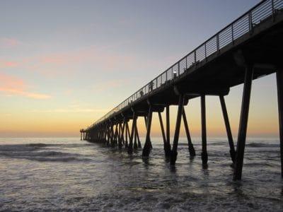 agua, amanecer, luz del sol, muelle, ola, Pacífico, puente, mar, océano, playa, cielo, amanecer