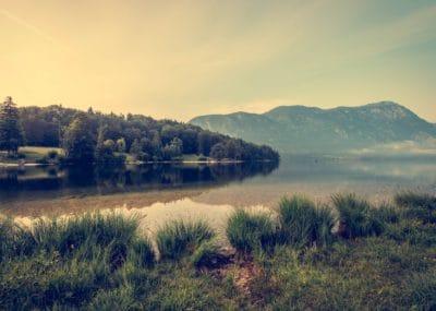 풍경, 호수, 국립 공원, 안개, 일몰, 물, 새벽, 하늘, 분야, 잔디, 토지