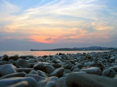 mar, playa, agua, mar, océano, paisaje, amanecer, cielo azul, iluminado