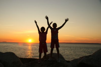 Alba, persona, sagoma, retroilluminato, acqua, spiaggia, oceano, mare, tramonto, sole