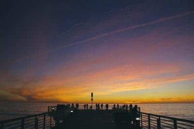 Sunrise, siluetti, Tyynenmeren, aalto, vesi, dawn, hämärä, ranta, meri, ocean, taivas, pier