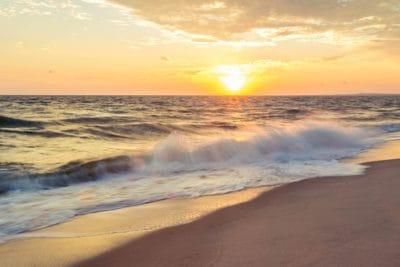 sunrise, sky, backlit, sand, water, beach, sun, dawn, sea, ocean, coast
