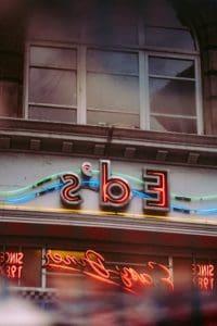 neonreklám, utcai, épület, homlokzat, szerkezet, építési, shop