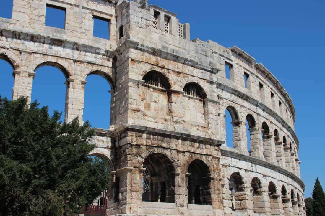 amfiteatar, Koloseum, arhitektura, drevni, Rim, Italija, srednjovjekovni, plavo nebo