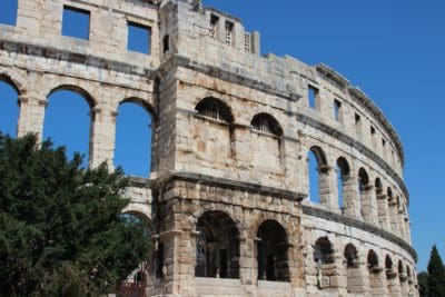 amphitheater, Colosseum, architecture, ancient, Rome, Italy, medieval, blue sky