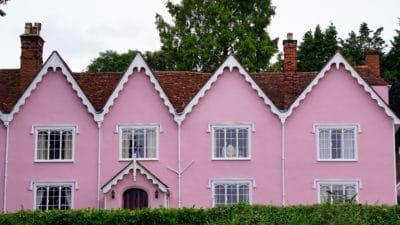 house, pink, facade, roof, estate, architecture, home, residence