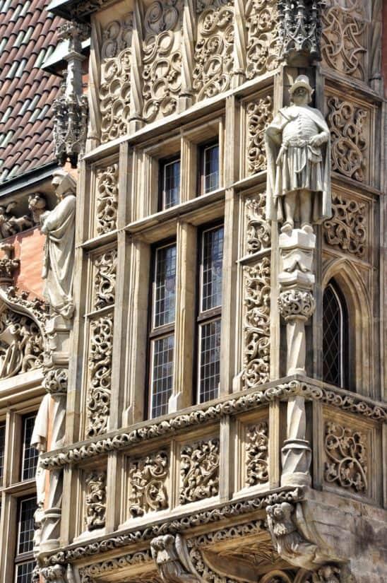 építészet, ősi, régi, homlokzat, gótikus, ablak, külső