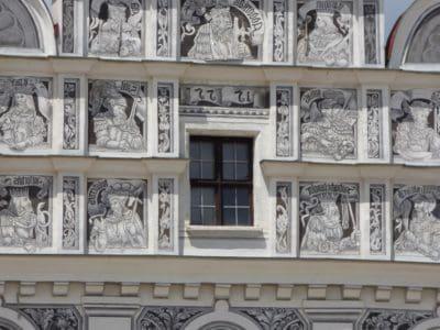 Skulptur, urban, Fassade, Architektur, Kunst, Balkon, Struktur, Fassade