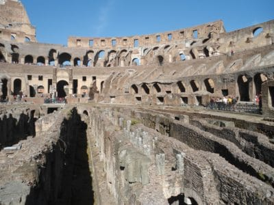 architecture, ancient, amphitheater, Rome, Italy, medieval, blue sky
