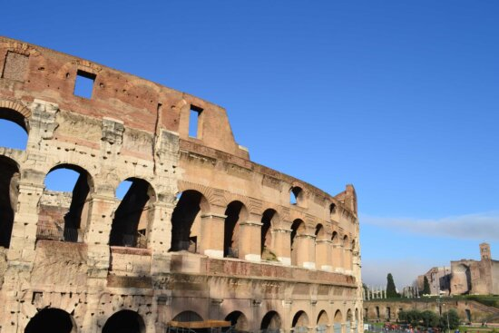 Colosseum, ancient, Rome, Italy, medieval, architecture, amphitheater, blue sky