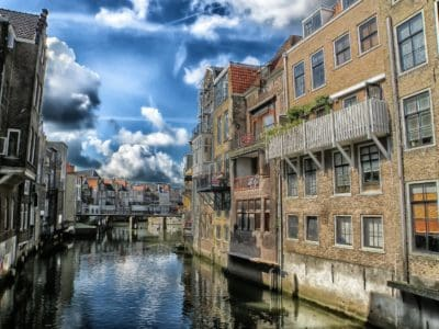architecture, canal, blue sky, downtown, water, city, street, waterfront