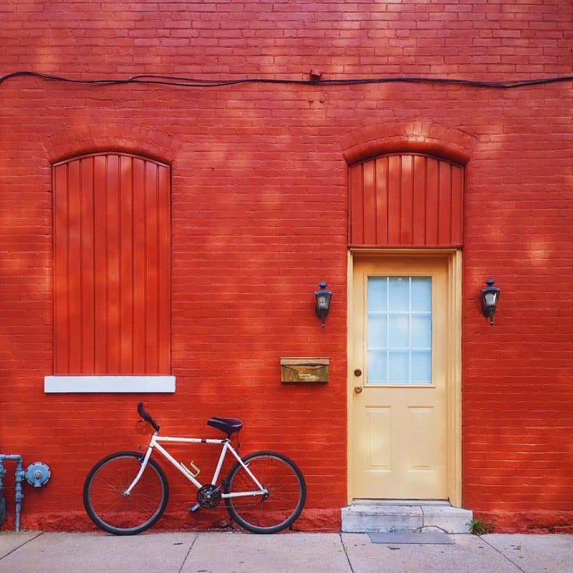 door, urban, bicycle, facade, house, architecture, wood, entrance, wall, doorway