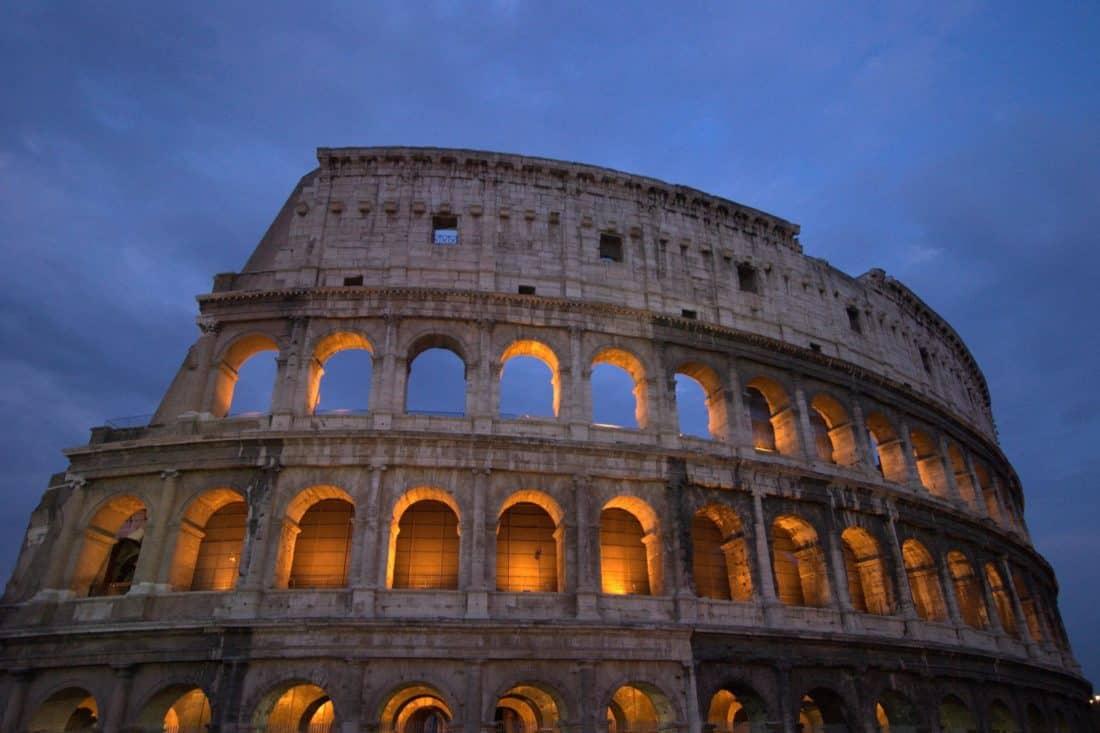 Architektura, starověké, Colosseum, Řím, Itálie, středověký, amfiteátr, obloha