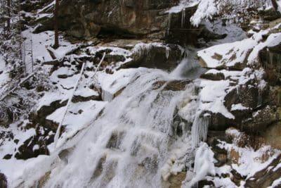 sníh, zima, chlad, vodopád, ledu, krajina, příroda, voda