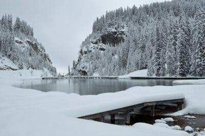nieve, invierno, frío, lago, montaña, madera, hielo, congelado, helada