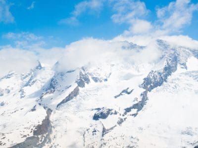 snow, winter, cold, ascent, blue sky, altitude, mountain, glacier, ice, landscape