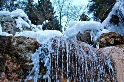 vodopád, kámen, sníh, zima, studené, příroda, mráz, LED, dřevo, krajina