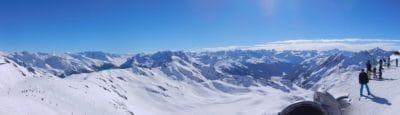 nieve, invierno, montaña, esquí, esquiador, deporte, frío, glaciares, paisaje, cielo