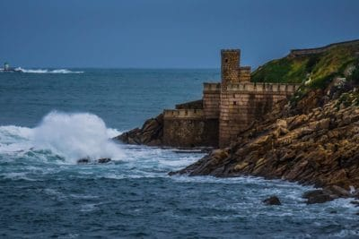 water, sea, fortress, fortification, castle, medieval, seashore, ocean, beach, landscape, coast