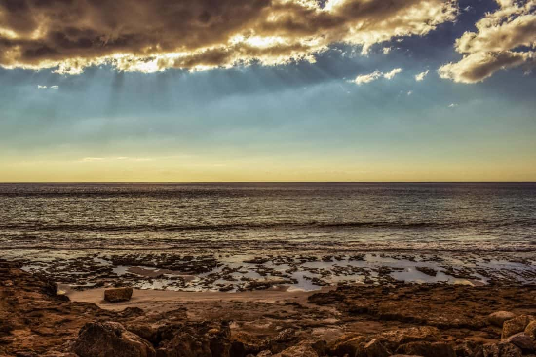 Západ slunce, voda, sluneční svit, soumrak, dawn, slunce, pláž, moře, obloha, krajina