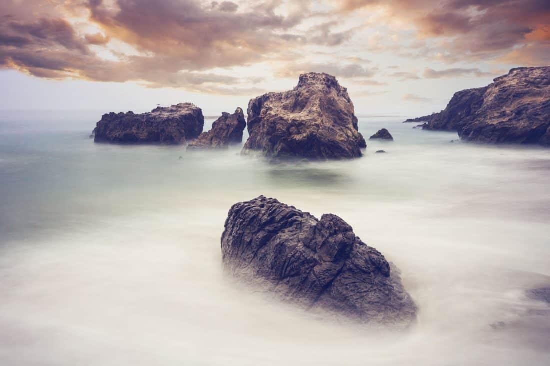 water, seashore, sunset, island, mist, ocean, beach, seascape, sea