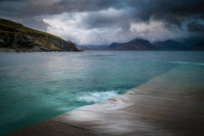 water, beach, sea, cloud, storm, ocean, seashore, landscape, sunset