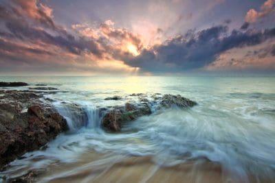 vode, zalazak sunca, plaža, oceana, mora, otoka, morski pejzaž, Zora, sunce