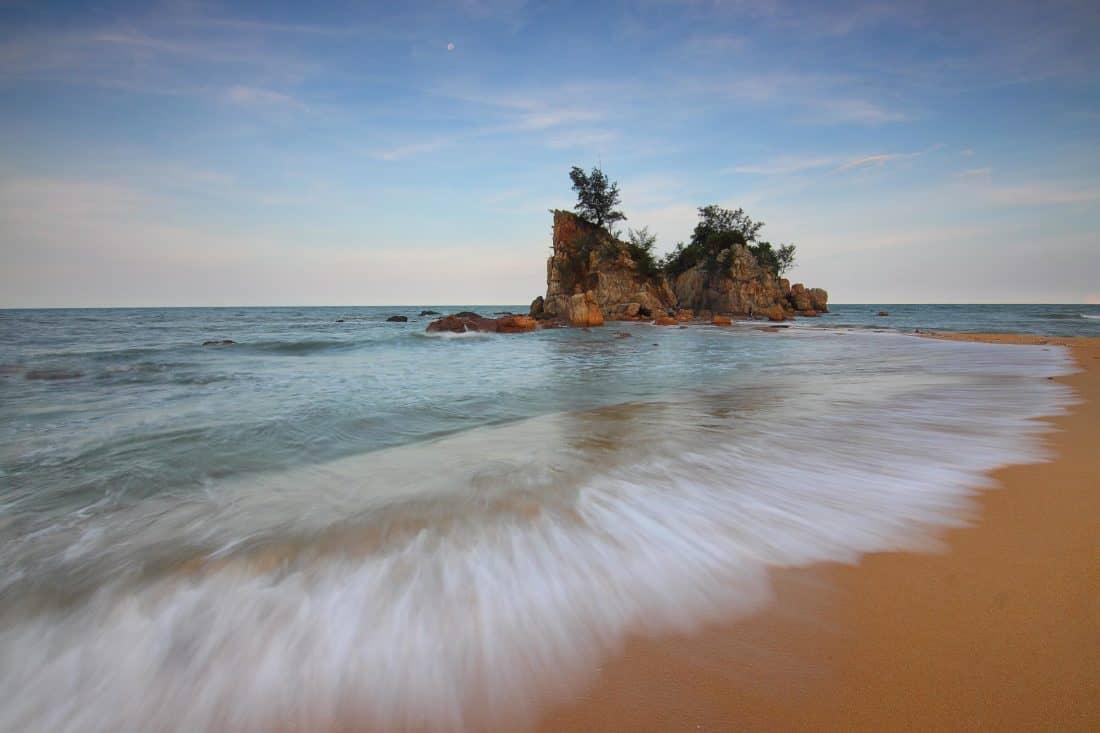 spiaggia, acqua, sabbia, isola, oceano, mare, mare, tramonto