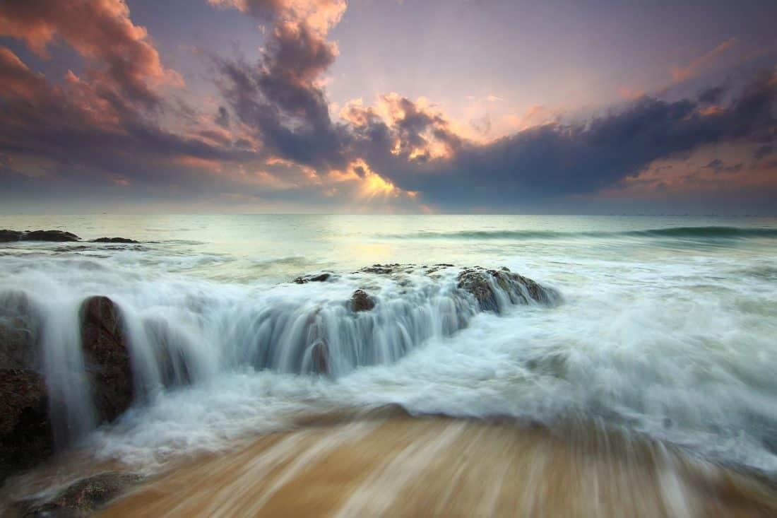 agua, paisaje marino, puesta de sol, atardecer, cascada, naturaleza, playa, paisaje