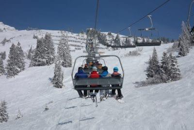 neve, inverno, freddo, montagna, sciatore, persone, seggiovia, sport