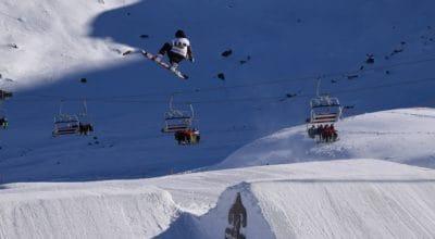 Sport, skok, dobrodružství, sníh, zima, studené, lyžař, snowboard, ledu, sedačková lanovka