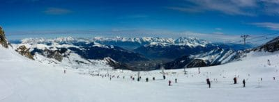 neige, hiver, montagne, ciel bleu, panorama, froid, sport, skieur, glace, paysage