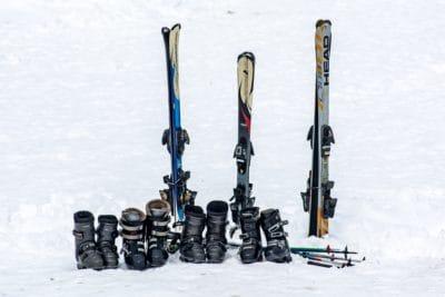 sníh, lyžování, zima, venkovní, sportovní, objektu, vybavení,