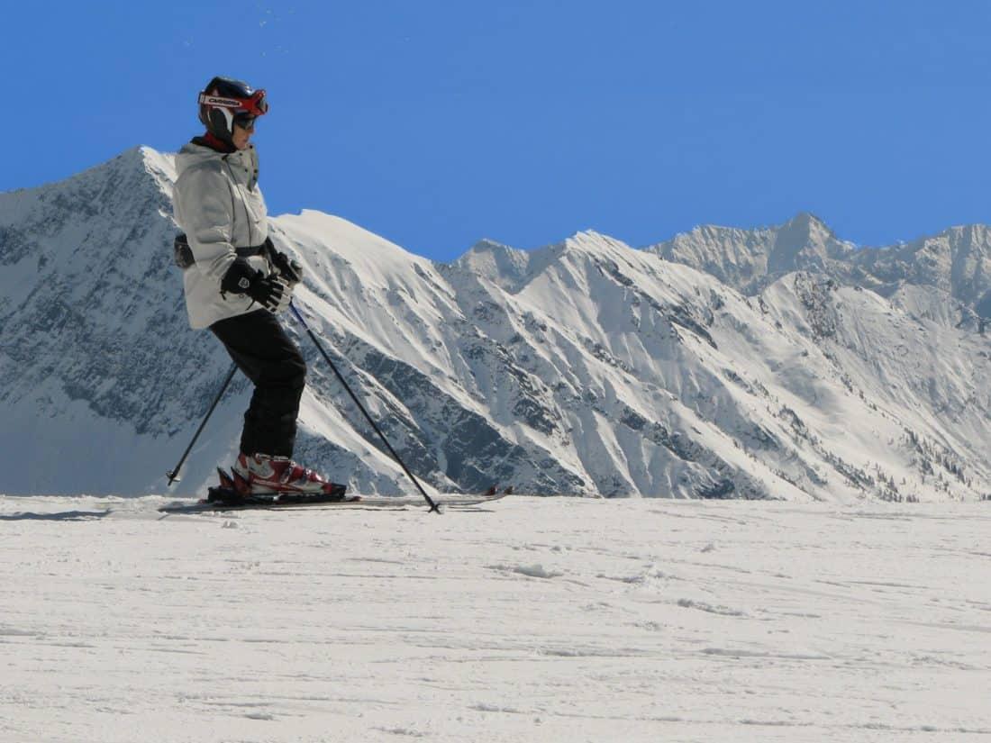 sníh, hory, zima, studené, sport, extrémní, modrá obloha, lyžař