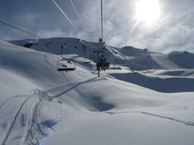 sneeuw, zon, winter, koude, berg, ijs, skiër, stoeltjeslift