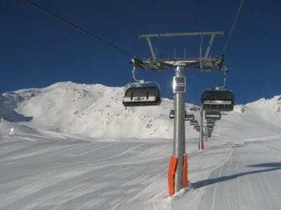 snow, winter, cold, mountain, ice, skier, chairlift, conveyance
