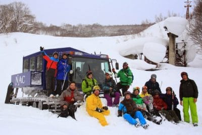 crowd, hill, snow, winter, cold, ice, people, sled, vehicle