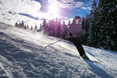 snow, winter, downhill, skiing, sunshine, cold, skier, mountain, sport, outdoor