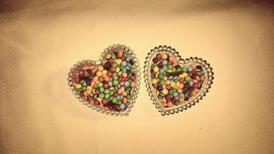food, dessert, candy, heart, bowl, object, colorful