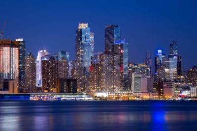 Centre ville, immeuble, métropole, ville, paysage urbain, architecture, nuit, crépuscule, moderne