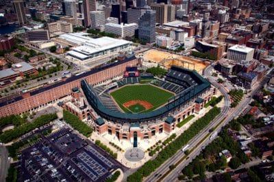 city, baseball stadium, urban, landmark, downtown, structure