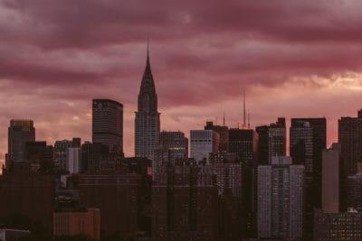 city, downtown, architecture, cityscape, sunset, building, metropolis, dark, dusk