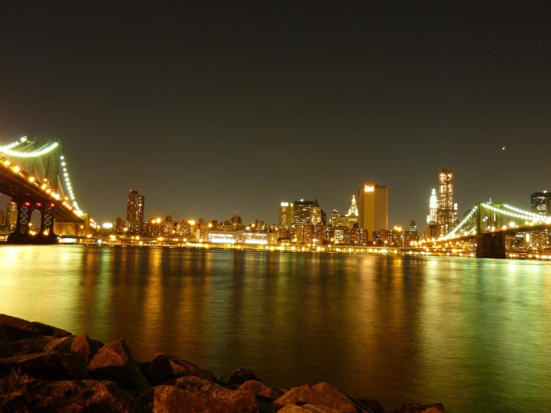 water, bridge, river, city, sunset, building, urban, dusk, architecture