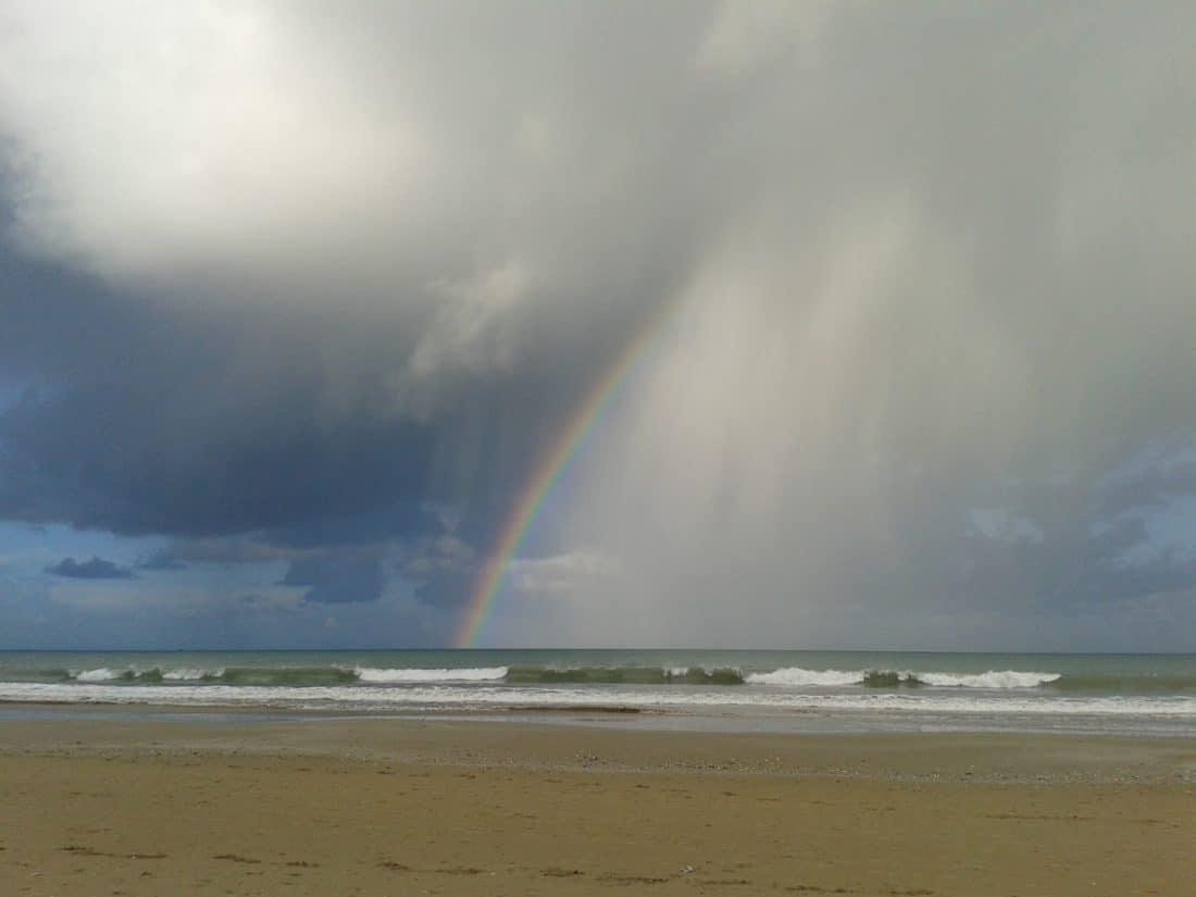 água, praia, nuvem, arco-íris, paisagem, areia, céu azul