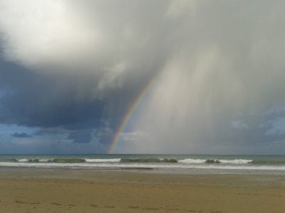 water, beach, cloud, rainbow, landscape, sand, blue sky
