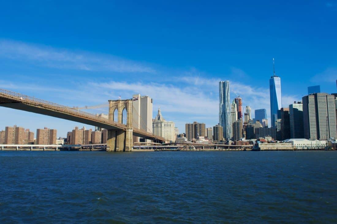 city, bridge, architecture, water, urban, blue sky, downtown, cityscape