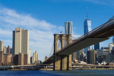 architecture, blue sky, landmark, building, city, water, downtown, cityscape, bridge