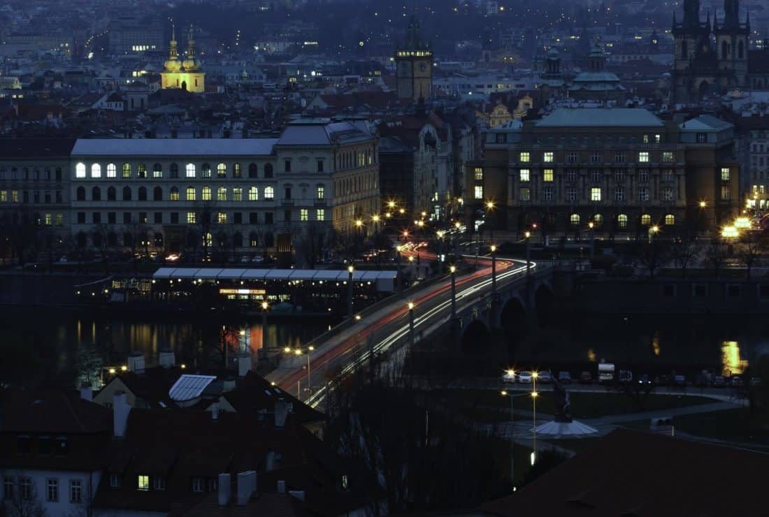 city, road, bridge, night, darkness, traffic, vehicle, structure, night